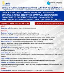 Seminario sulla sicurezza stradale nella sede Anas di Cosenza