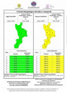 Maltempo – Rovesci e temporali sulla Calabria, l'allerta della Protezione Civile