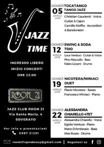 """""""Jazz Time"""": anche ad aprile quattro appuntamenti di musica live al Jazz Club Room 21 di Soverato"""