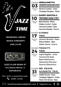 "Al Jazz Club Room 21 di Soverato a Maggio è ancora tempo di ""Jazz Time"""