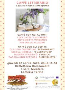 Lamezia Terme – Il 12 aprile nono appuntamento con il caffè letterario Dolceamaro