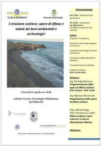 """Soverato – Giovedì 26 aprile conferenza """"Erosione costiera: Opere diDifesa e tutela …"""""""