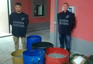 Sequestrati dalla Guardia Costiera 3 quintali di novellame di sarda