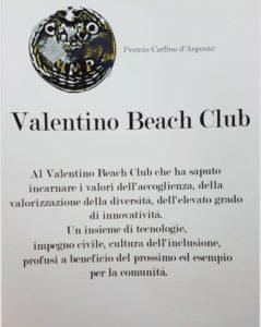 """Il Valentino beach club di Catanzaro Lido premiato con il """"Carlino d'argento"""""""