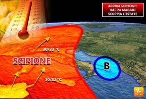 """Meteo – Arriva """"Scipione"""" l'anticiclone africano. Punte di 32 gradi"""