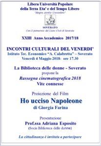 """Soverato – Venerdì 04 Maggio la proiezione del film """"Ho ucciso Napoleone"""""""
