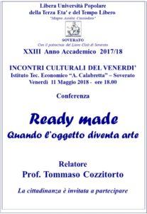 """Soverato – Venerdì 11 Maggio la conferenza """"Ready made –Quando l'oggetto diventa arte"""""""
