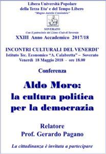 """Soverato – Venerdì 18 Maggio la conferenza """"Aldo Moro:la cultura politicaper la democrazia"""""""