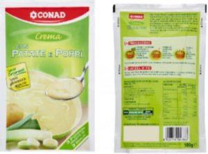 Crema con patate e porri a marchio Conad richiamate per presenza di glutine, l'allerta del Ministero della Salute