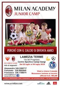 Lamezia Terme – Dal 2 al 6 Luglio il campus estivo del Milan
