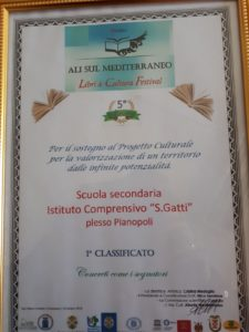 """Primo premio all'Istituto comprensivo """"Don Saverio Gatti"""" di Lamezia Terme"""