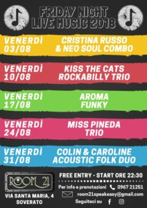"""""""Friday Night Live Music"""": la musica dell'estate al Room 21 di Soverato ogni venerdì"""