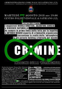 """Satriano – Martedì 07 Agosto incontro """"Infinito Crimine – Indagine sulla 'Ndrangheta"""""""