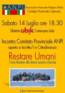 Sabato 14 luglio iniziativa ANPI a Catanzaro Lido per contrastare la deriva razzista