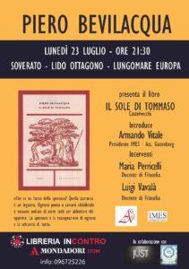 """Soverato – Presentazione del libro """"Il sole di Tommaso"""" di Piero Bevilacqua"""