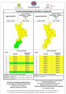 Allerta della Protezione Civile Calabria per possibili piogge e temporali