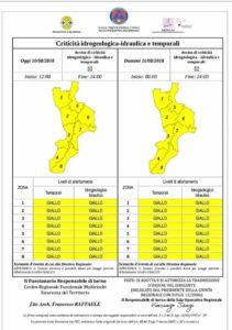 Allerta Meteo della Protezione Civile Calabria per possibili precipitazioni intense