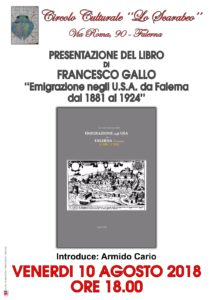 L'emigrazione falernese negli U.S.A. raccontata da Francesco Gallo