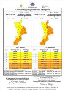 """Allerta meteo """"Arancione"""" della Protezione Civile Calabria, possibili nubifragi"""