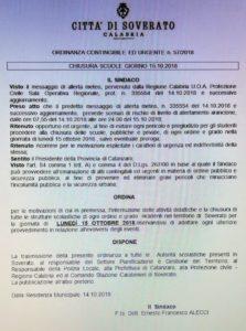 Allerta Meteo – Domani scuole chiuse a Soverato