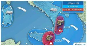 Maltempo – Alto rischio di forti temporali e nubifragi sulla Calabria Jonica