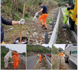 Ss 18: Anas e Comune di Vibo Valentia insieme per la raccolta dei rifiuti abbandonati
