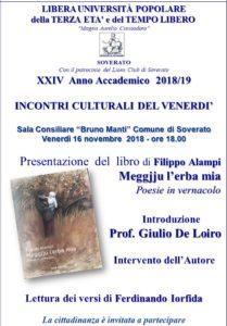 """Soverato – Venerdì 16 Novembre presentazione del libro """"Meggjju l'erba mia"""""""