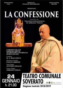 """Teatro Soverato – Giovedì 24 gennaio in scena """"La Confessione"""""""