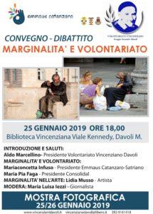 """Davoli – Venerdì 25 Gennaio convegno-dibattito """"Marginalità e Volontariato"""""""