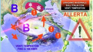 """Arriva """"Medicane Uragano Mediterraneo"""", punta verso l'Italia con neve e tempeste"""