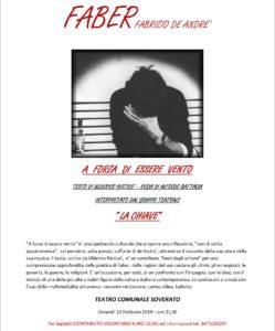 """Teatro Soverato – Stasera in scena """"Faber. A forza di essere vento"""""""