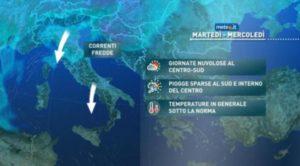 Settimana con temperature in calo in Calabria, martedì attesi forti temporali