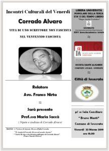 """Soverato – Venerdì 22 Marzo la conferenza """"Corrado Alvaro – Vita di uno scrittore"""""""