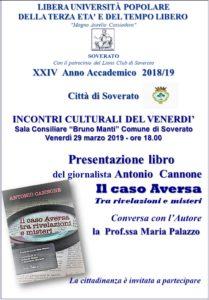 """Soverato – Venerdì 29 Marzo la presentazione del libro """"Il caso Aversa"""""""