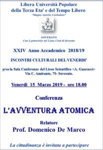 """Soverato – Venerdì 15 Marzo la conferenza """"L'avventura atomica"""""""