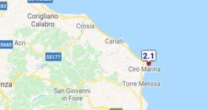 Scossa di terremoto sulla costa jonica calabrese