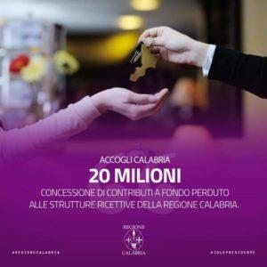 Concessione di contributi a fondo perduto alle strutture ricettive della Calabria