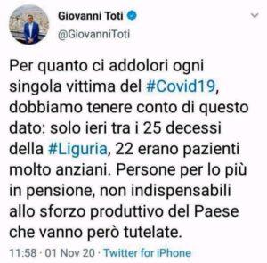 """Bufera sul tweet di Toti: """"Anziani non indispensabili"""". Codacons ne chiede le dimissioni"""