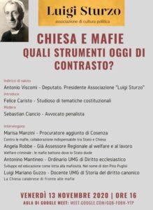 """Un webinar su """"Chiesa e mafie"""" promosso dall'associazione Luigi Sturzo"""