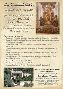 """Badolato – Celebrazione per il ritorno della """"Madonna degli Angeli musicanti"""" di Fra' Diego da Careri al Convento Francescano"""