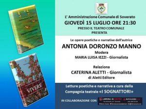 """""""Vivere – La primavera al Covid-19"""", libro di Antonia Doronzo Manno sarà presentato al Teatro Comunale di Soverato"""