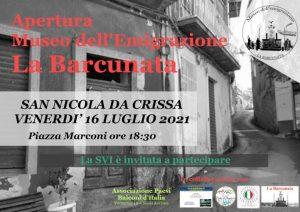Venerdì 16 luglio a San Nicola da Crissa verrà inaugurato il museo dell'emigrazione, l'unico della Calabria