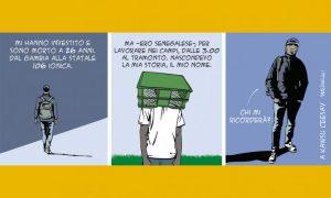 """Kawsu Ceesay, 26enne morto sulla Statale 106, in una vignetta di Mauro Biani su """"L'Espresso"""""""