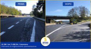 """Anas, terminati i lavori di pavimentazione sulla Ss 280 """"Dei Due Mari"""""""