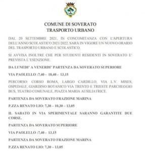 Dal 20 settembre al via a Soverato il trasporto urbano