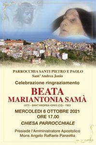 S. Andrea Jonio – Mercoledì 6 ottobre Santa Messa di ringraziamento per la Beatificazione di Mariantonia Samà