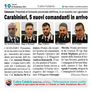 Carabinieri, cinque nuovi comandanti in arrivo nella provincia di Catanzaro