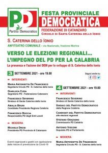 Il 3 e 4 Settembre a Santa Caterina dello Ionio la Festa dell'Unita provinciale