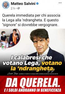 """""""Salvini, la tua querela è una medaglia al merito per i calabresi"""""""