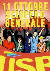 Lunedì 11 Ottobre sciopero generale unitario del sindacalismo di base